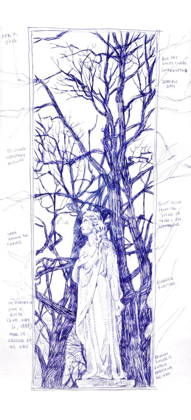 770x1692 Saatchi Art St. John's Cemetery Norway Drawing By Richard Johnson