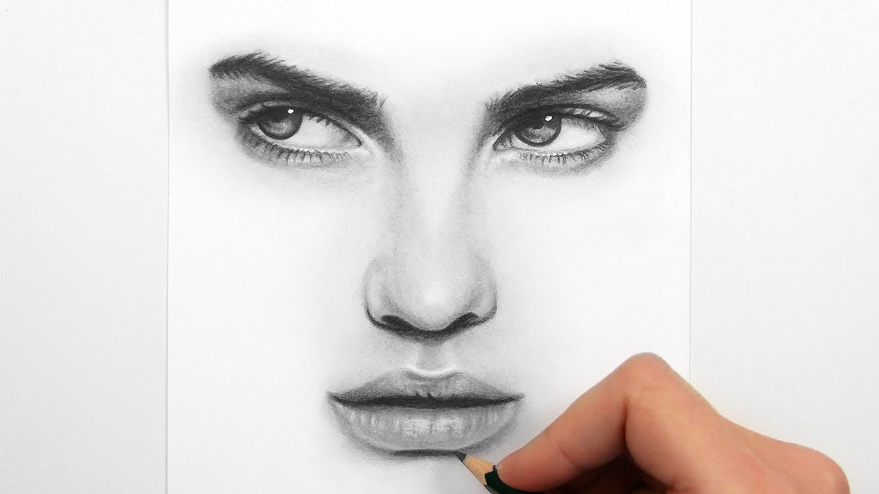 1280x720 Drawing Eyes, Nose And Lips With Graphite Pencils