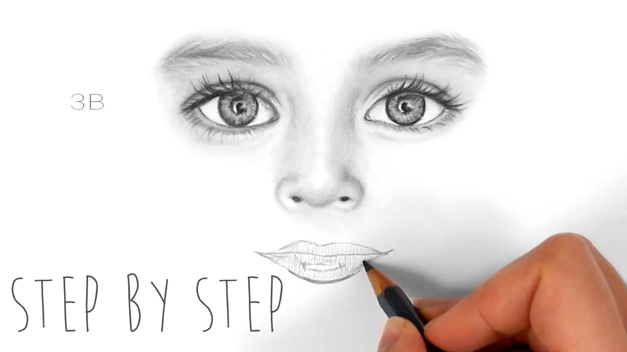 1280x720 Pencil Sketch Eye Nose Lips Stepstep How To Draw Shade Realistic