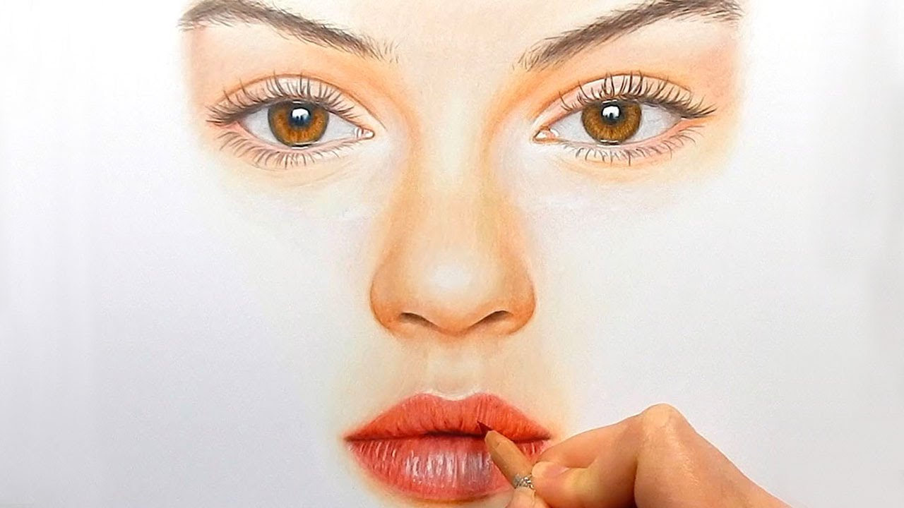 1280x720 Pencil Sketch Eye Nose Lips Timelapse Drawing, Coloring
