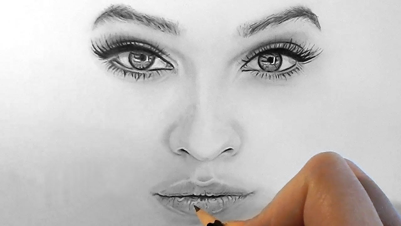 1280x720 Timelapse Drawing Realistic Eyes, Nose And Lips With Graphite