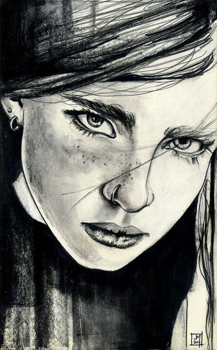 709x1144 Girl With Nose Ring Sketch A Day Project