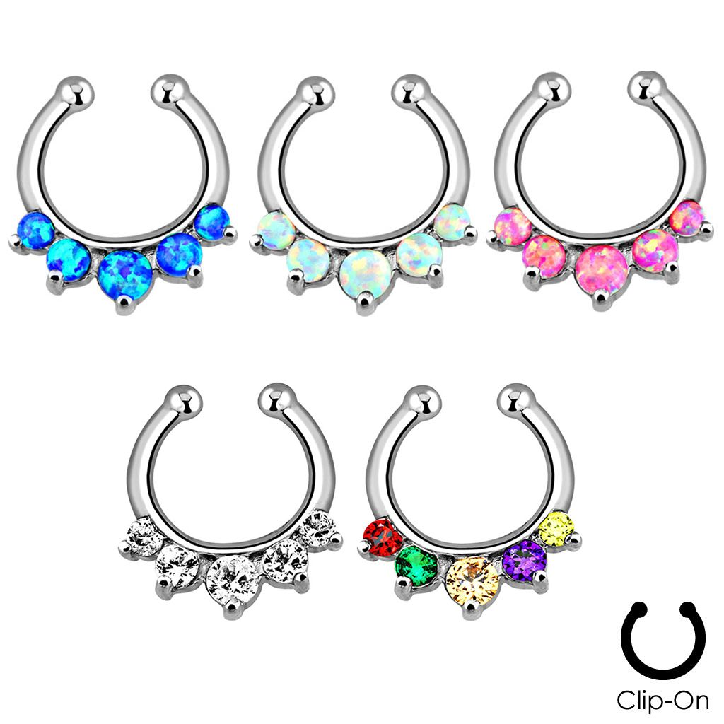 1024x1024 Septum Clicker Hanger Clip On Non Piercing Nose Ring Hoop Cz Opals