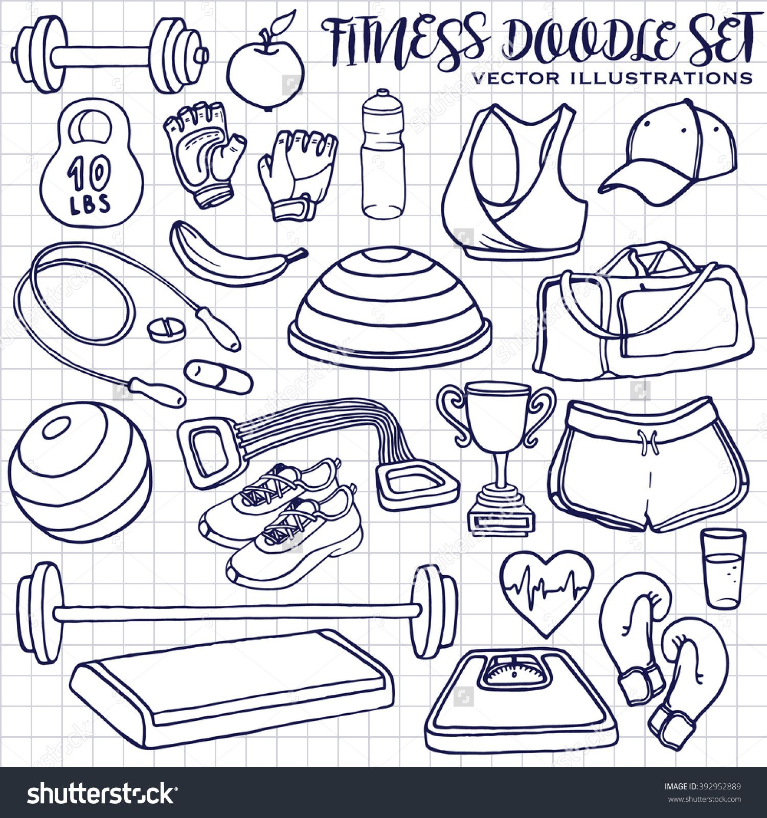 1500x1600 Hand Drawn Fitness Doodle Set On Squared Notepad Page, Vector