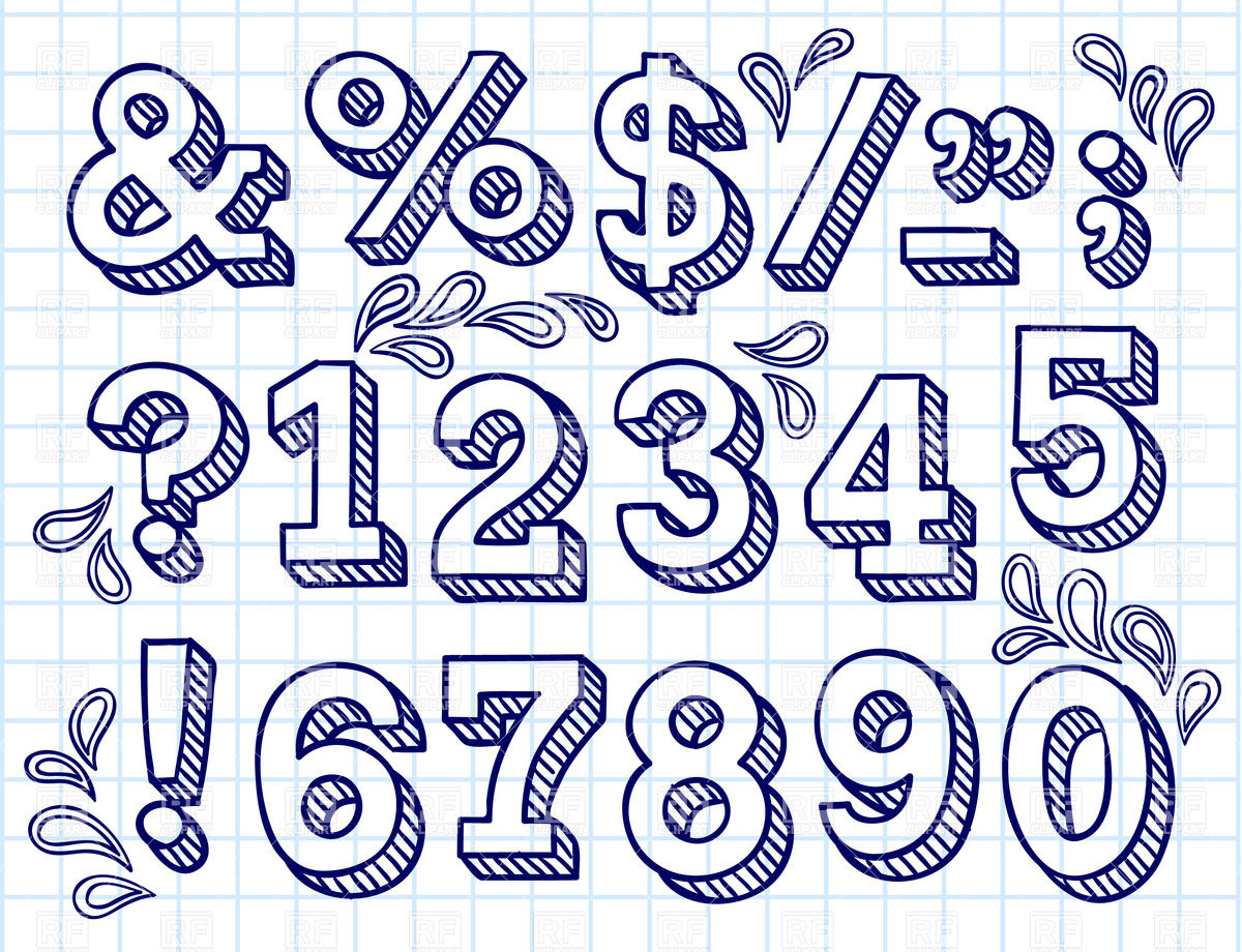 1200x920 Collection Of Hand Drawn Numbers On Checkered Paper Royalty Free