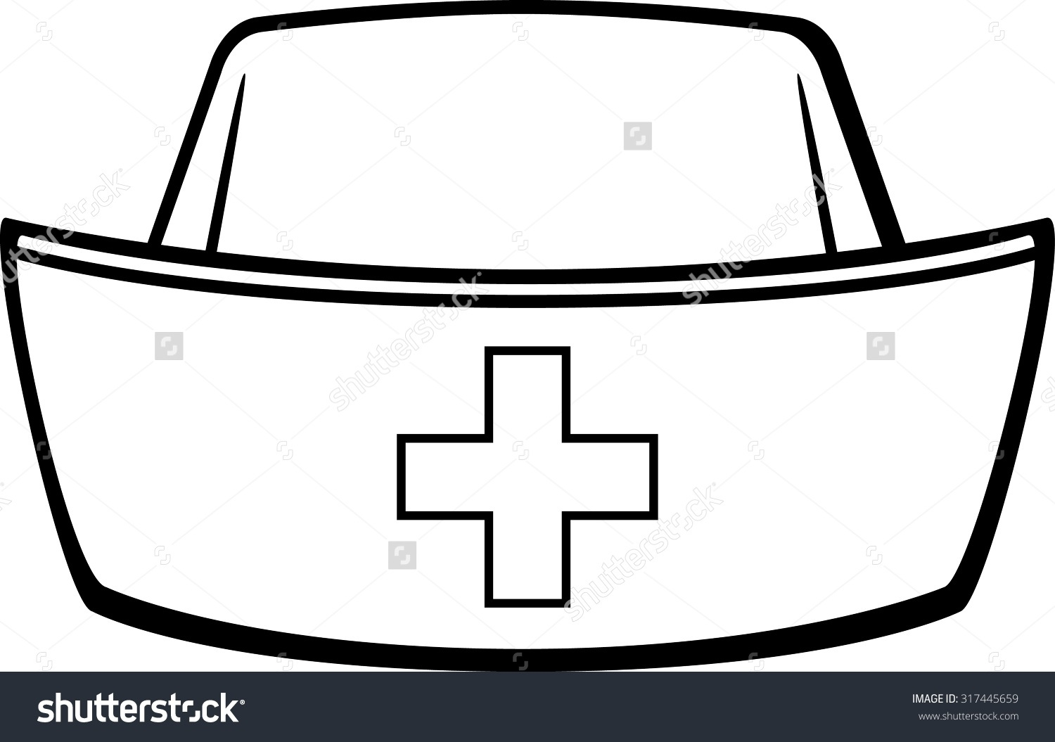 1500x1055 Nurse Hat Clipart Black And White