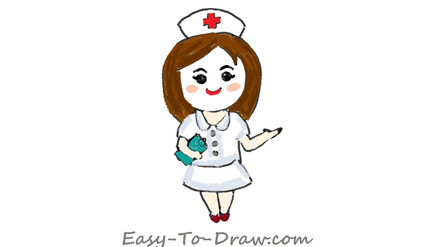 1687x950 How To Draw A Cartoon Registered Nurse With A Notebook In Hand