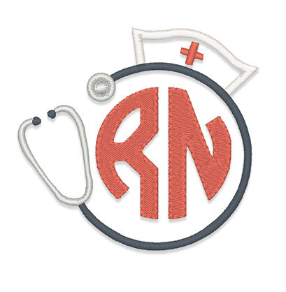 409x418 Nurse Hat Stethescope Monogram Frame Embroidery Design