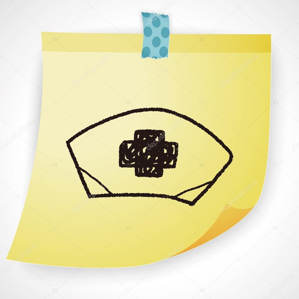 1024x1024 Nurse Hat Doodle Drawing Icon Element Stock Vector Hchjjl