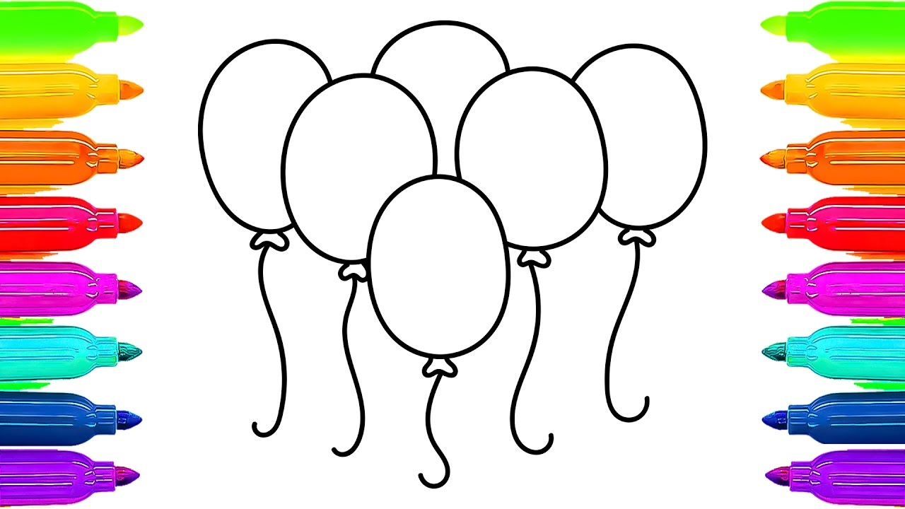 1280x720 Colorful Balloons Coloring Pages And Drawing Art Colors For Kids