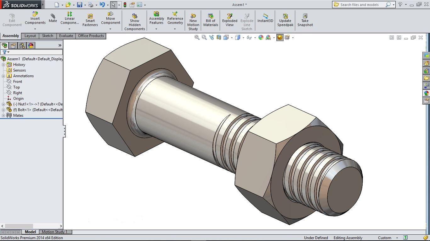 1366x768 Solidworks Tutorial Solidworks Bolt And Nut Tutorial