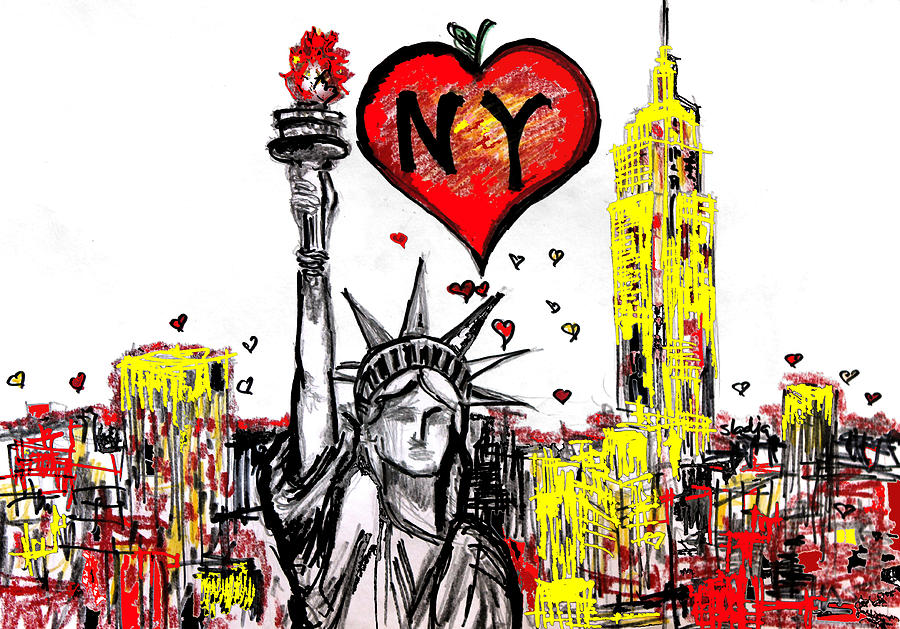 900x629 I Love Ny Digital Art By Sladjana Lazarevic