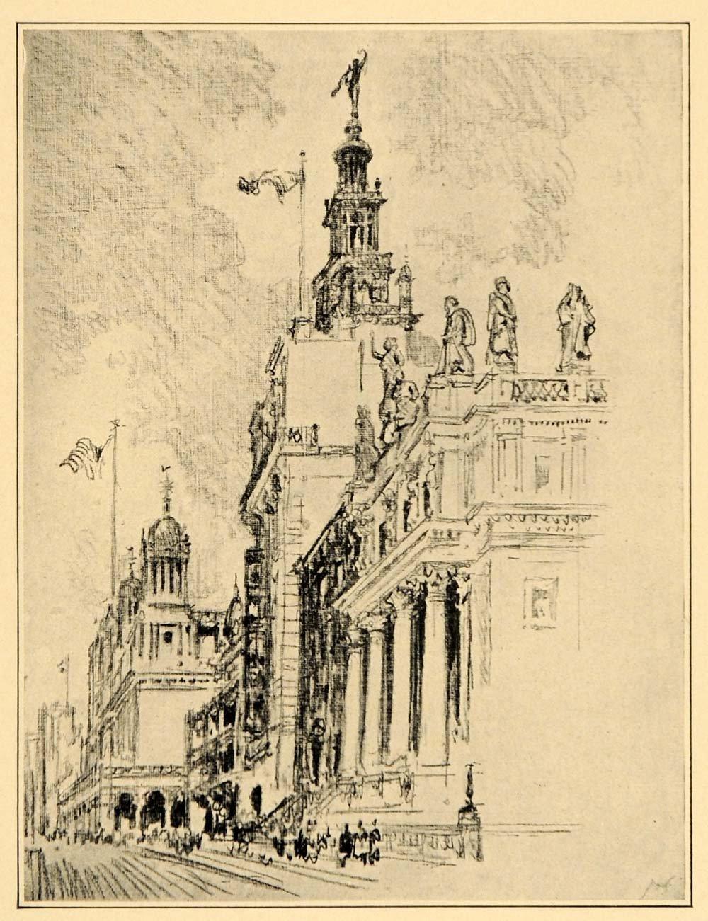 1000x1301 1909 Joseph Pennell Art Madison Avenue Nyc New York City Drawing