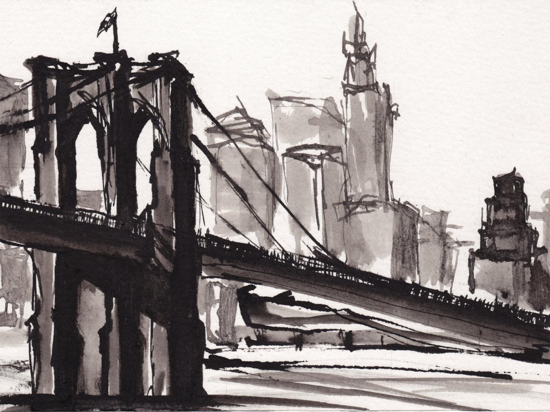 1500x1124 Art Pen Ink Sketch Drawing Nyc Brooklyn Bridge Black