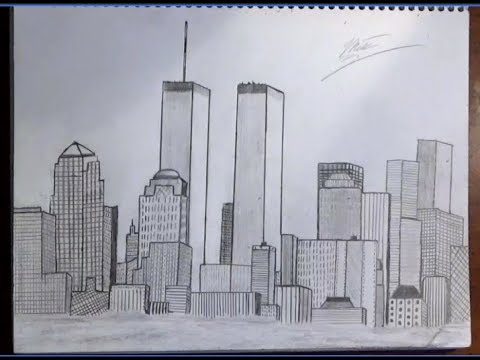 480x360 Drawing Of New York City Skyline(Nyc With Trade Centers) Time