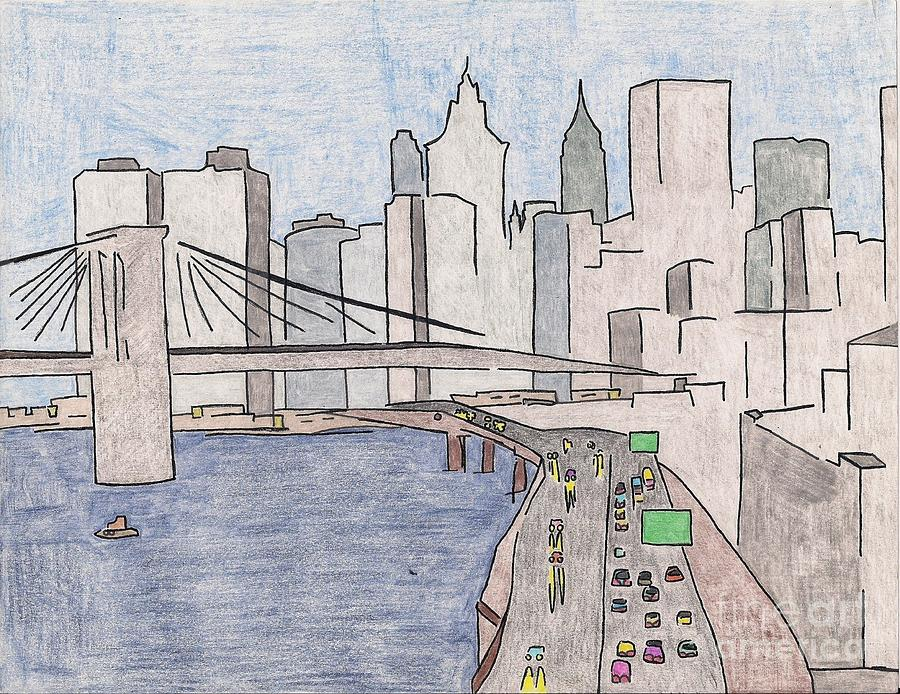 900x694 Nyc Drawing By Quincy Heath