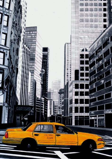 474x673 Nyc Taxi Drawing By Lisafeehily