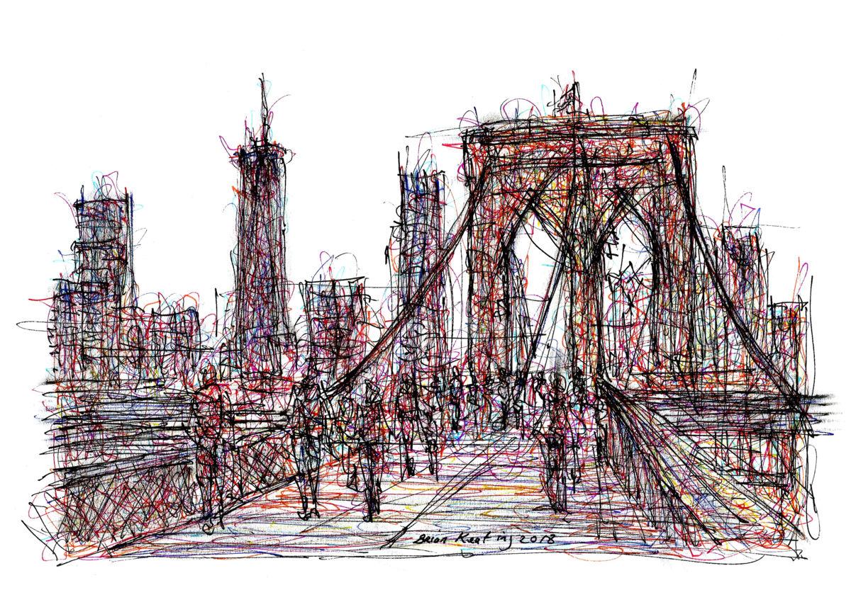 1200x850 Pedestrians Crossing Brooklyn Bridge Nyc (Brian Keating)
