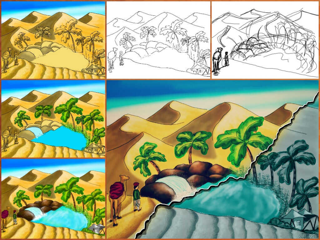 1024x768 Picsartists Share Tutorials On How To Draw An Oasis