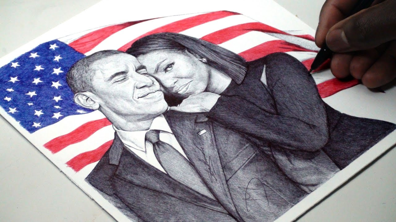1280x720 Barack And Michelle Obama Pen Drawing