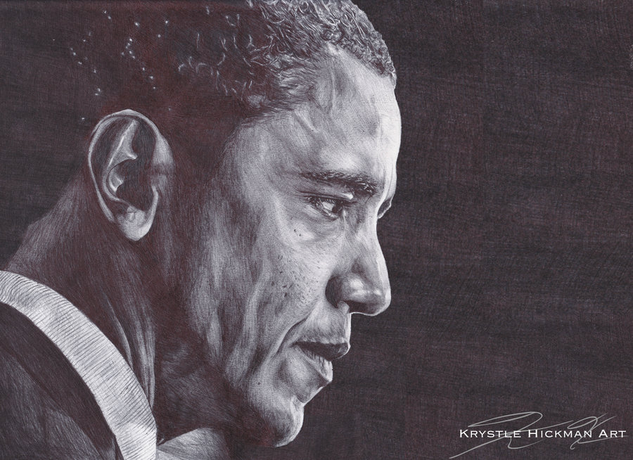 900x654 President Barack Obama Bic Pen Drawing By Thekrystlegallery