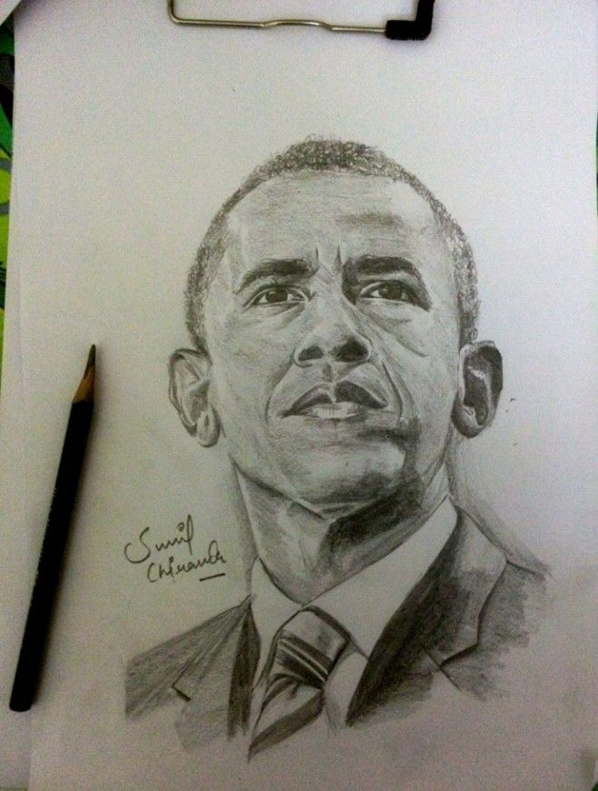 660x872 Obama Pencil Drawing By Sunil Chirania Caricature Drawing