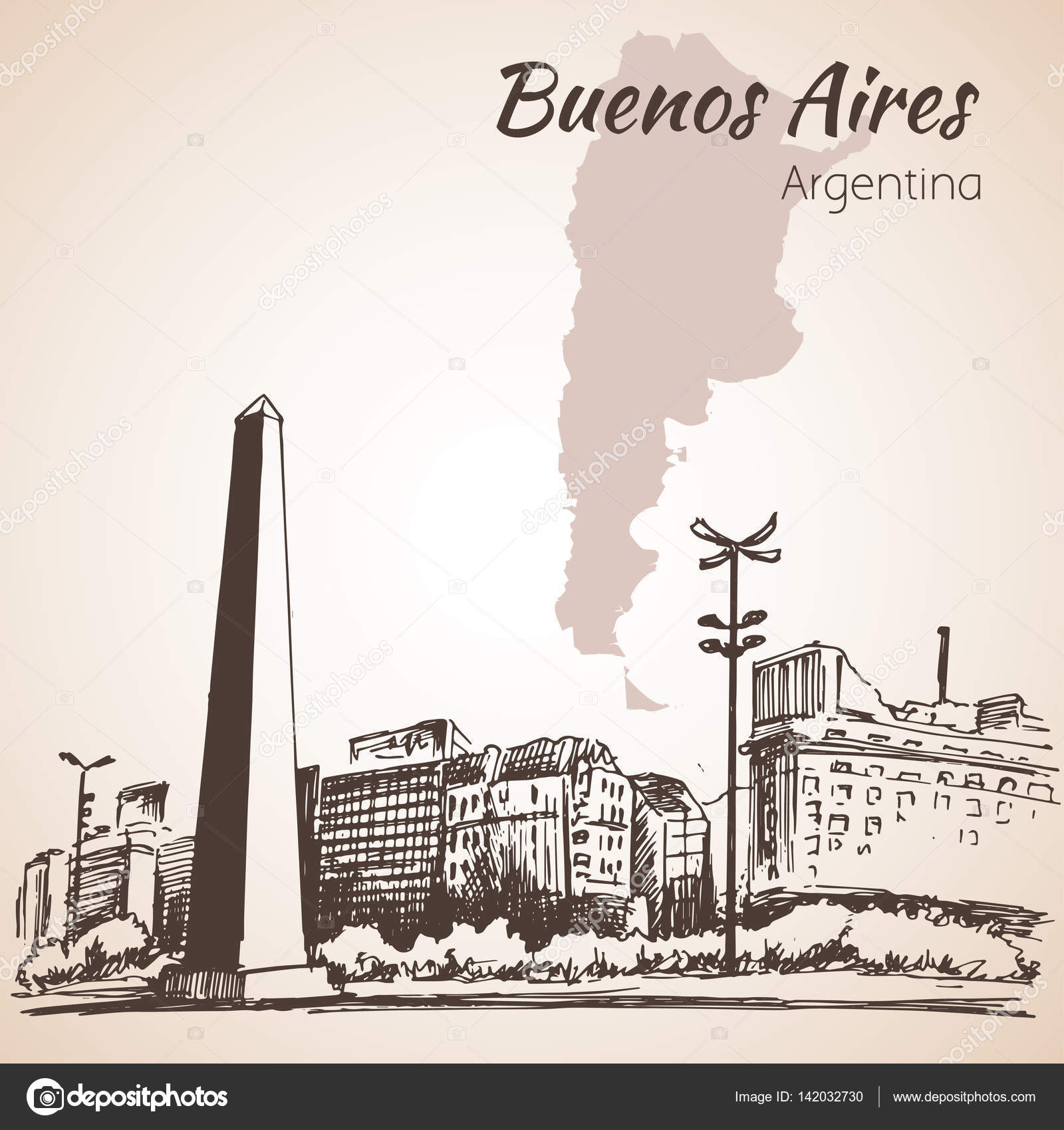 1600x1700 Buenos Aires Cityscape With Obelisk. Argentina. Sketch. Stock