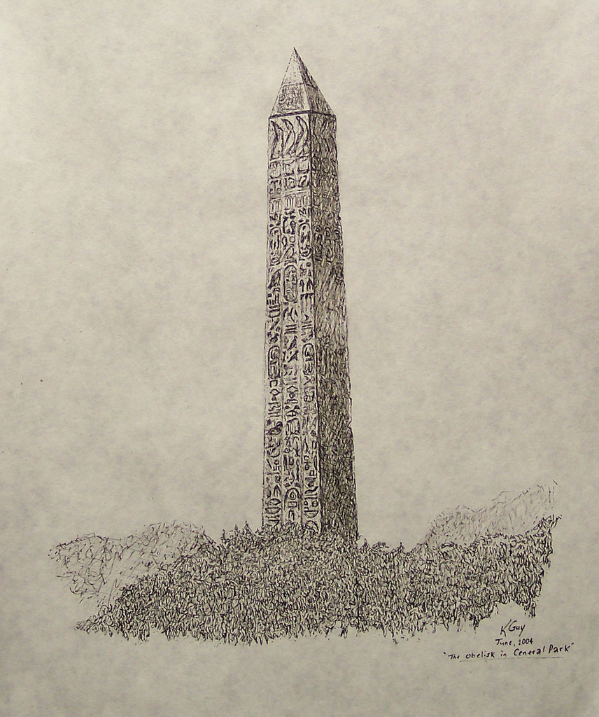 856x1024 Central Park Obelisk, Ink Drawing Central Park Obelisk