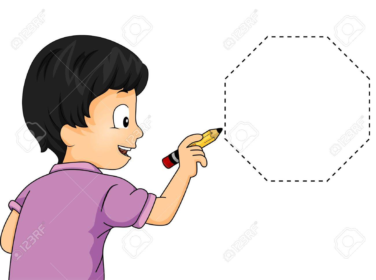 1300x969 Illustration Of A Little Boy Drawing An Octagon Stock Photo