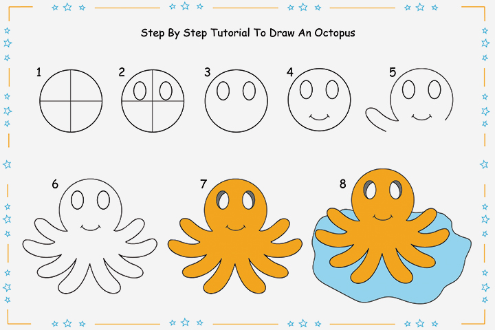 720x480 8 Step By Step Tutorial For Drawing An Octopus For Kids