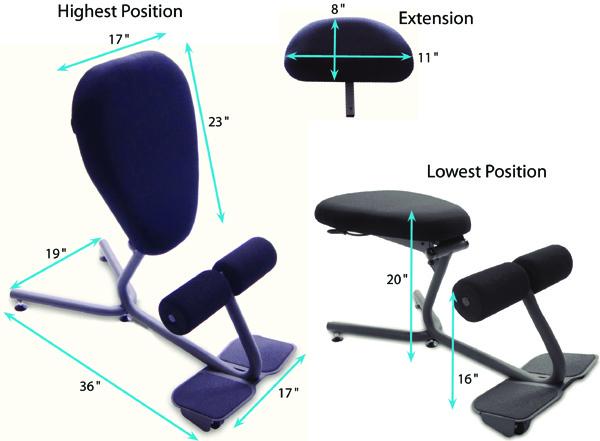 600x441 Healthpostures 5050 Stance Move Ext Ergonomic Kneeling Chair