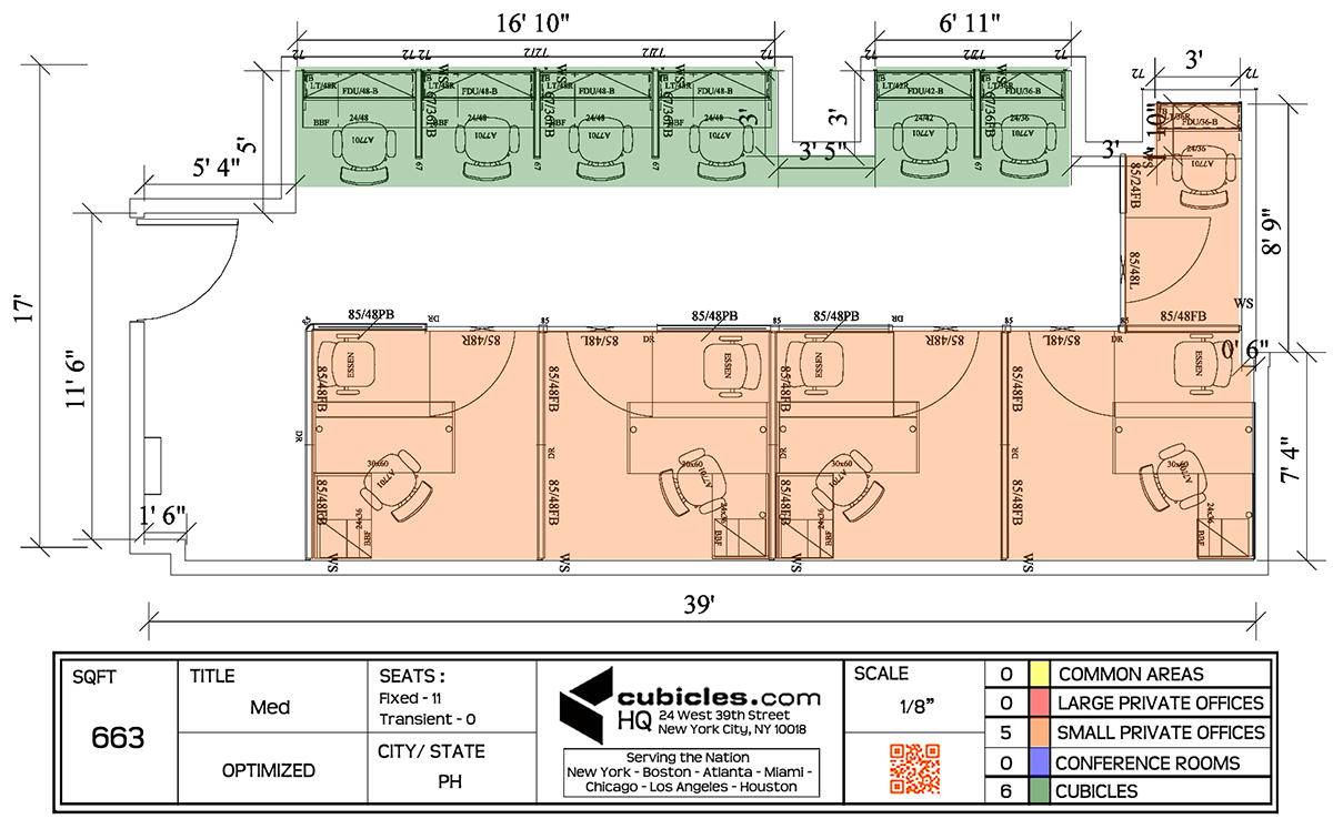 1200x747 Cubicle Layout For 663 Square Footage With 6 Cubicles And 5 Small