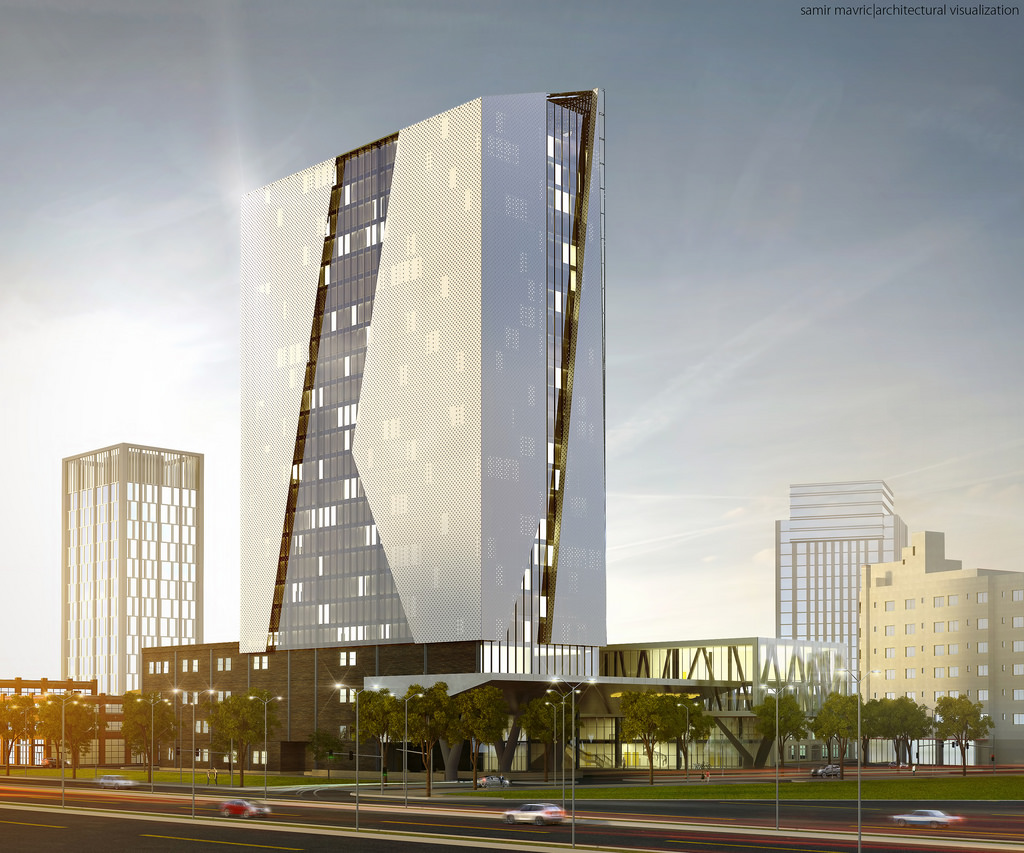 1024x853 Modern Office Building, Architectural Visualization