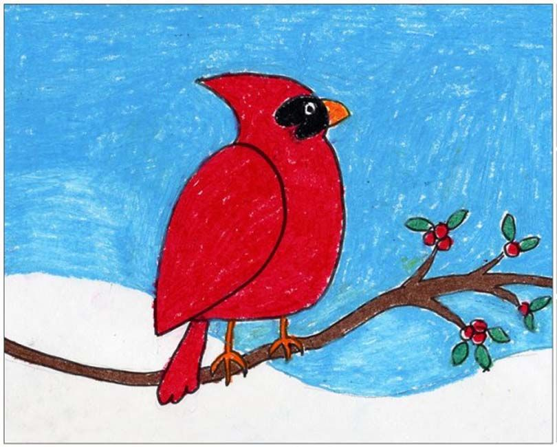 810x650 Oil Pastel Cardinal Simple Shapes, Oil Pastels And Young Children
