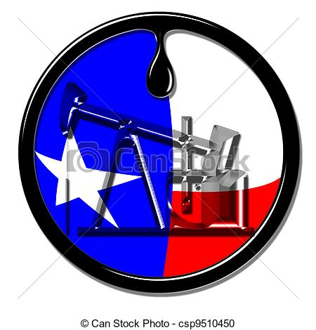 450x470 Oil Well Production In Texas. Stock Illustration