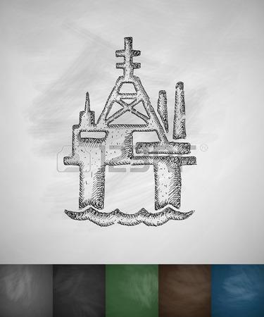375x450 Oil Derrick In Sea Icon. Hand Drawn Illustration On Chalkboard