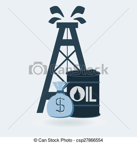 450x470 Oil Derrick With Money Bag And Barrel Clipart Vector