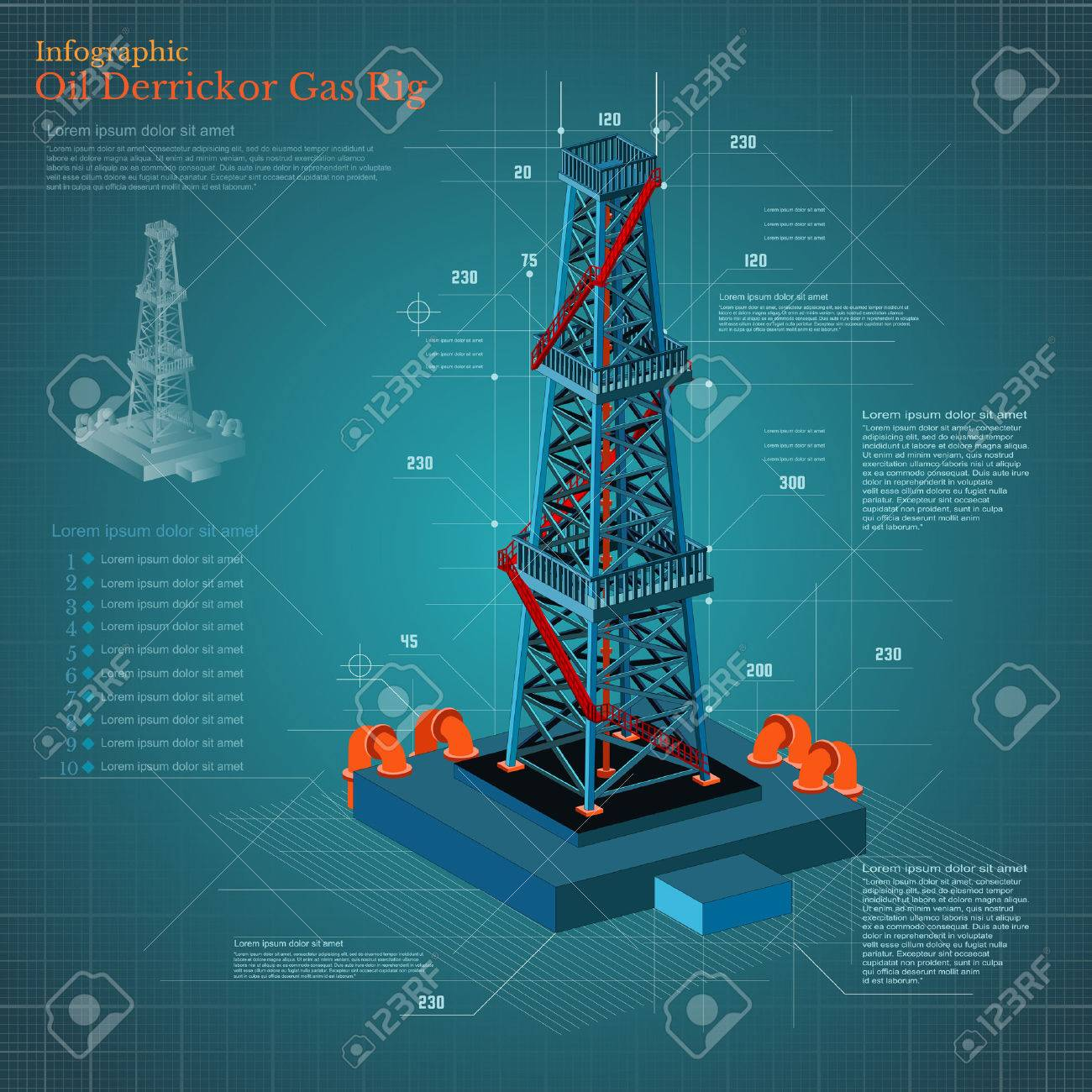 1300x1300 Plan Drawing Oil Derrick Tower Or Gas Rig Infographic On Blue