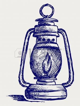 338x450 Hand Drawn Vintage Kerosene Lamp. Sketch Oil Lamp. Vector