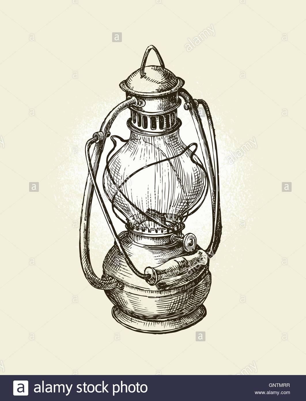 1062x1390 Hand Drawn Vintage Kerosene Lamp. Sketch Oil Vector Illustration