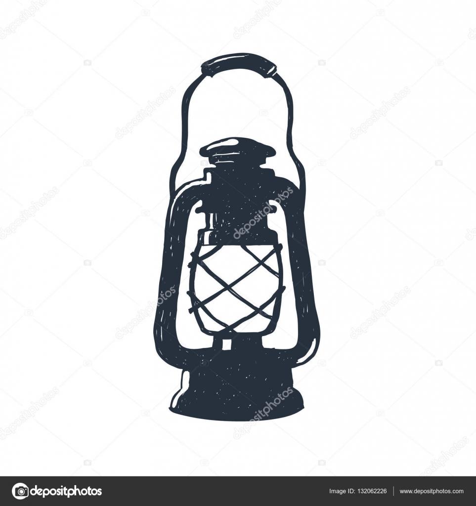 963x1024 Hand Drawn Vintage Kerosene Lamp Sketch Oil Lantern Vector
