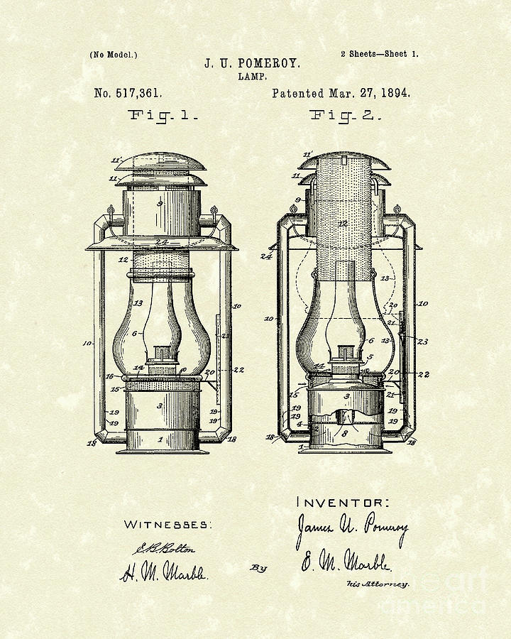 720x900 Lamp Pomeroy 1894 Patent Art Drawing By Prior Art Design