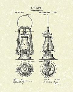 240x300 Lantern 1887 Patent Art Drawing By Prior Art Design