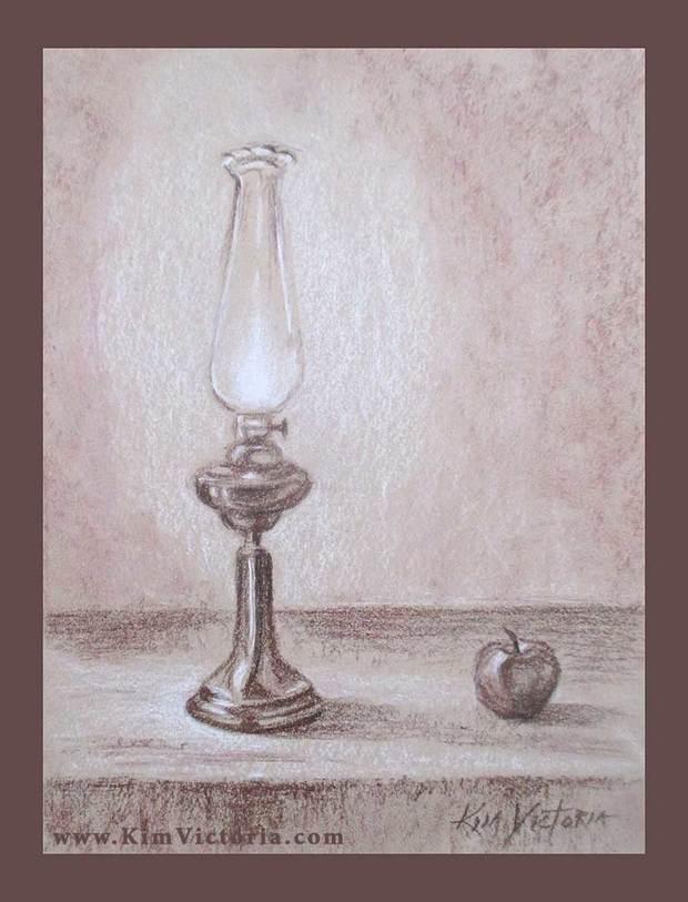 620x813 Oil Lamp Drawing