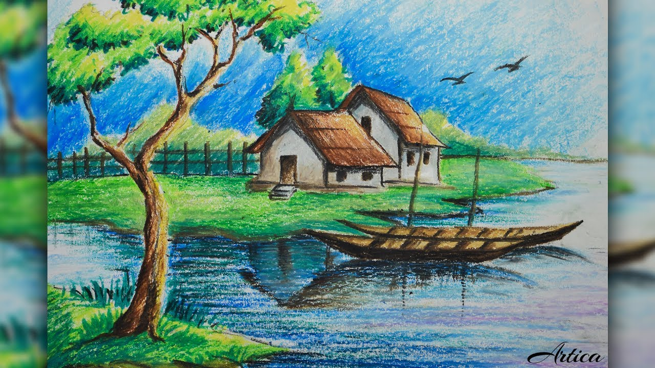 1280x720 How To Draw A Village Landscape With Oil Pastel Oil Pastel
