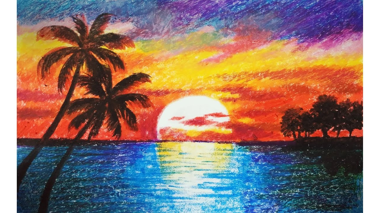 1280x720 Landscape Drawing For Beginners With Oil Pastels