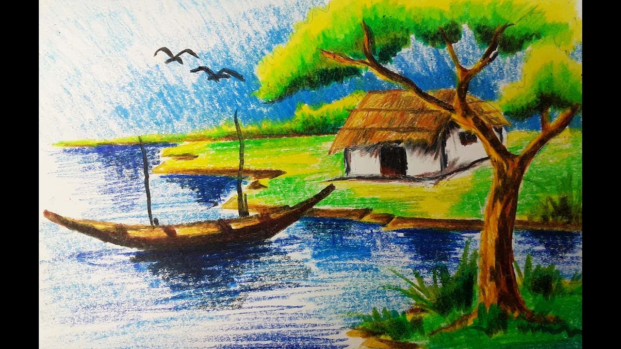 1280x720 Natural Scenery Painting Oil Pastel Drawing A Village Scenery
