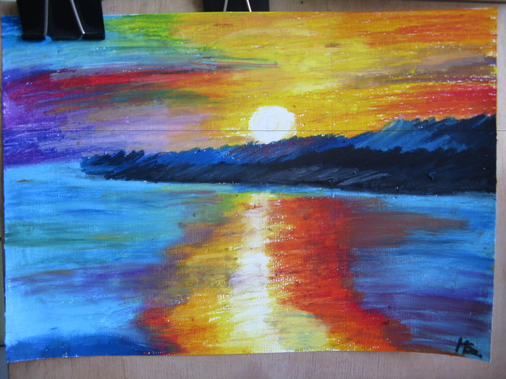 1024x768 Sunset Drawing With Oil Pastels By Miki4212