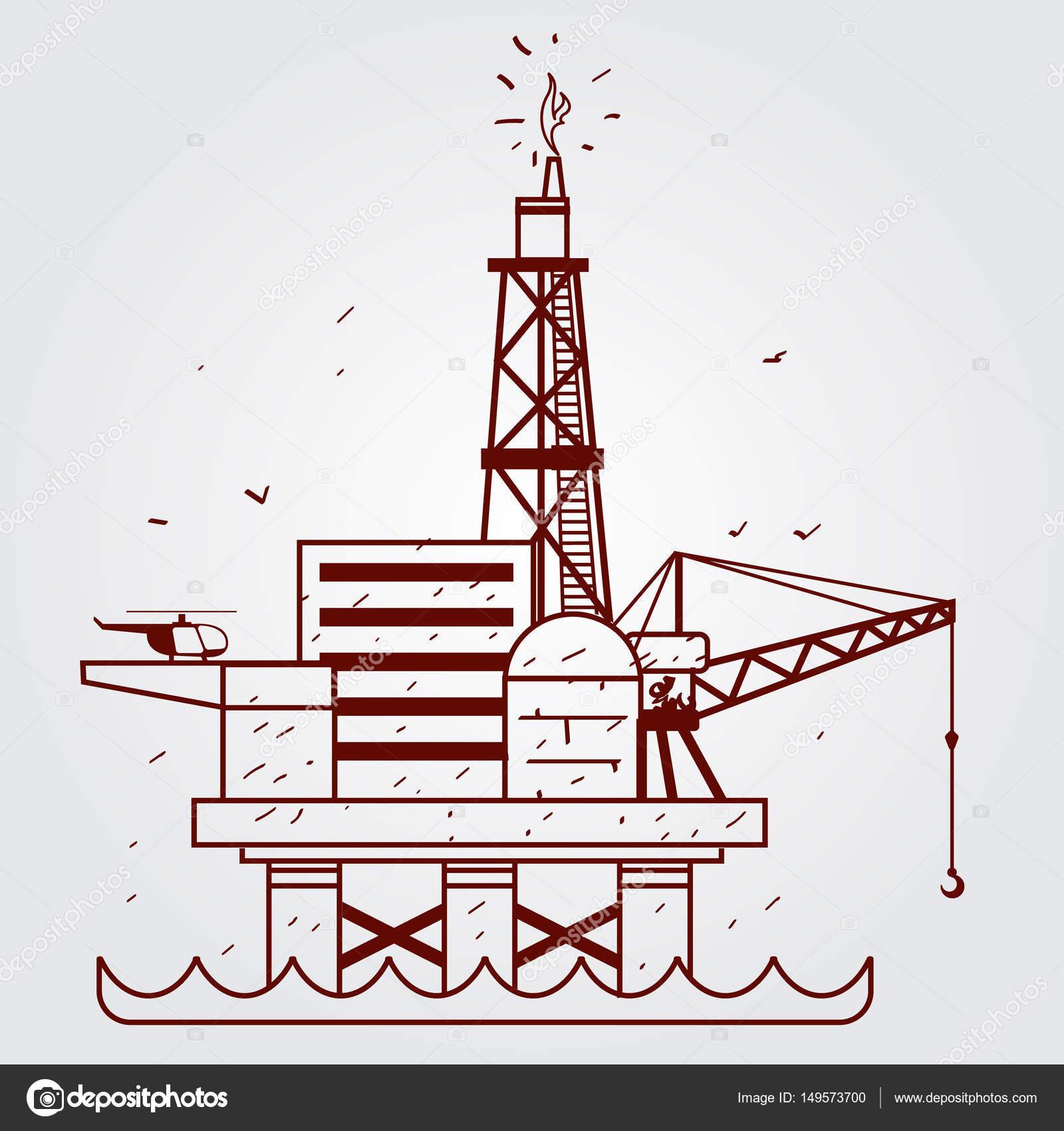 1600x1700 Gas, Oil Platform. Outline Drawing. Stock Vector Filkusto