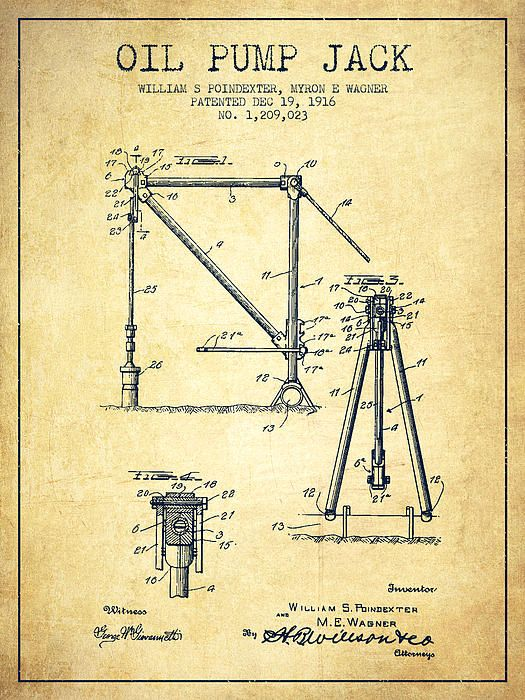 525x700 Oil Pump Jack Patent Drawing From 1916 ~ Posters Amp Canvas Prints